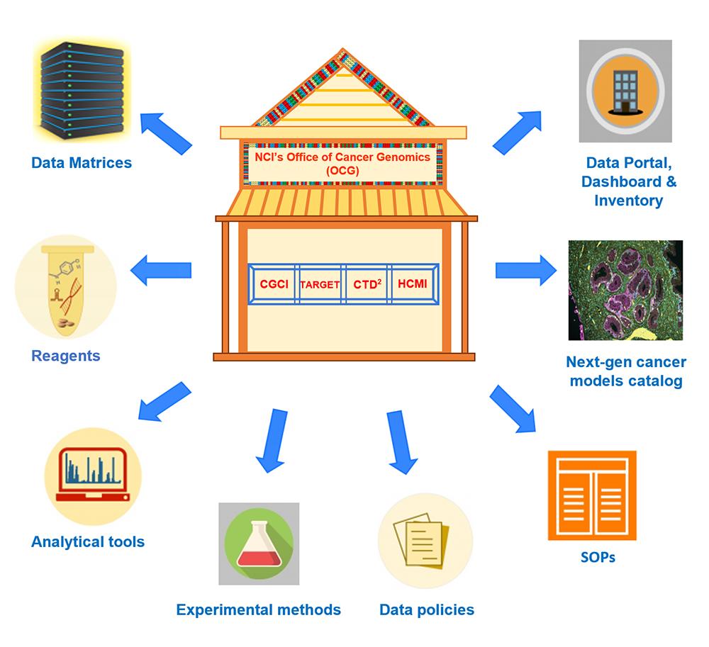 Cartoon illustration of OCG resources using icons