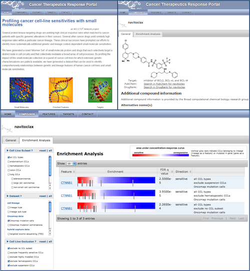 Image of the CTRP landing page, along with examples of functionality using the drug navitoclax as an example entry.