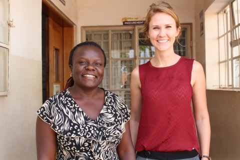 Constance Namirembe and Sarah Gerdts standing together at the Uganda Cancer Institute